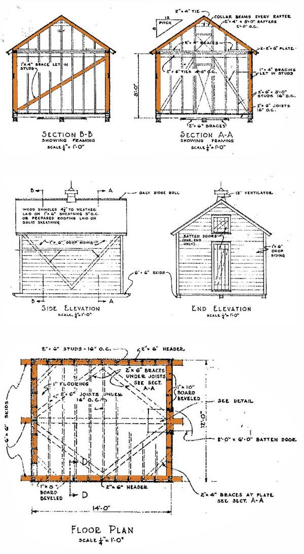 12x14 shed plans